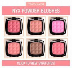 NYX Powder Blush Swatches (Part (Temptalia) Nyx Blush, Blush Makeup, Drugstore Makeup, Love Makeup, Skin Makeup, Beauty Makeup, Normal Makeup, Makeup Geek, Expensive Makeup Brands