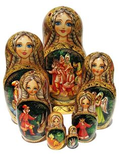 EXCLUSIVE 7-PIECE BABUSHKAThis authentic Russian nesting doll set was hand painted by one of our best matryoshka artists.  The beautiful decor and very detailed images of the Fire bird story make ever
