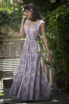 Levander Maxi Dress, Bridesmaid Levander Long Dress, Hippie Urban Evening / Day Summer Dress, Boho Carrie Dress, Romantic Floral Maxi Dress