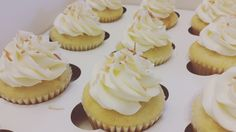 Lemon cupcakes with coconut buttercream topped with toasted coconut Lemon Cupcakes, Mini Cupcakes, Cupcake Cakes, Coconut Buttercream, Toasted Coconut, Cheesecake, Desserts, Food, Lemon Cookies