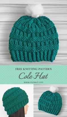 patrón de punto libre de sombrero cole en noowul & cole mütze free knitting pattern on noowul Circular Knitting Patterns, Beanie Knitting Patterns Free, Knit Beanie Pattern, Baby Hats Knitting, Knitting Yarn, Free Knitting, Round Loom Knitting, Cowl Patterns, Knitting Machine