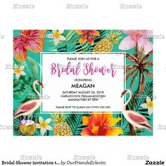 Bridal Shower invitation tropical flamingo Postcard