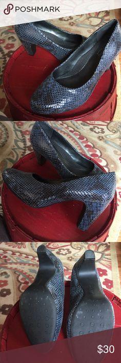Easy Spirit Blue leather pumps Easy Spirit AntiGravity pumps. Blue/brown snakeskin printed leather. Worn twice. 3 inch heel. Platform built in. Easy Spirit Shoes Heels