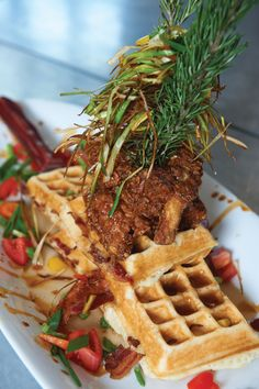 Sage fried chicken with bacon cooked INSIDE the waffles - Hash House a GoGo