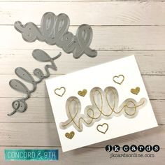 Paper Craft Crew 239. Concord & 9th Say Hello and Lucky Dies, American Crafts Gold Glitter Card Stock.