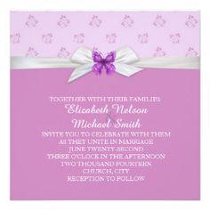 Lavender Butterfly Damask Swirls Wedding Invite