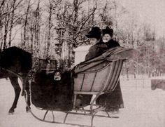 Empress Alexandra Feodorovna in sleigh with Vyrubova AA Tsarskoye Selo.