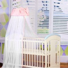 New Bowknot Lovely Baby Crib Bed Canopy Mosquito Netting With Steel Support Pink