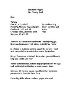 """Here is a cute little readers theater that I wrote for my 2nd grade class to perform for their parents this Thanksgiving. It all came from those inspiring Eat Mor Chickin Chick a Fila cows. Enjoy!  <a href=""""http://creativecommons.org/licenses/by-nc-nd/3.0/deed.en_US""""></a><br />This work is licensed under a <a href=""""http://creativecommons.org/licenses/by-nc-nd/3.0/deed.en_US"""">Creative Commons Attribution-NonCommercial-NoDerivs 3.0 Unported License</a>."""