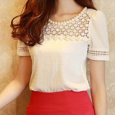 Women Elegant White Short Sleeve O-neck Chiffon Floral T Shirt Hollow Top Blouse #Unbranded #Blouse #Casual