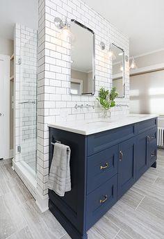 Delicate Contemporary Dark Wood Bathroom Vanity Design Ideas To Have Dark Blue Bathrooms, Best Bathroom Tiles, Master Bathroom Vanity, Navy Bathroom, Wood Bathroom, Small Bathroom, Bathroom Ideas, Bathroom Organization, Bathroom Mirrors