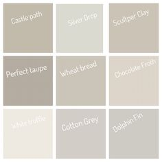Neutral colors from Behr. White truffle for basement? Or top floor? Taupe Paint Colors, Behr Paint Colors, Farmhouse Paint Colors, Room Paint Colors, Paint Colors For Home, Wall Colors, House Colors, Neutral Paint, Gray Paint