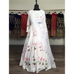 White baby satin digital printed lehenga choli Floral Lehenga, Lehenga Choli, Party Wear Lehenga, Lehenga Designs, Satin Material, Bollywood Fashion, Floral Prints, How To Wear, Suit