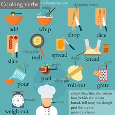 Cooking Verbs - 16 food preparation verbs with example sentences
