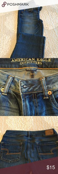 Jeans - AEO - size - 4 Favorite Boyfriend, Super Stretch, Flair American Eagle Outfitters Jeans Flare & Wide Leg