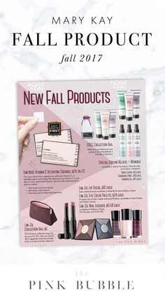 FREEBIE!! New Fall Products 2017 Flier. Find it only at www.thepinkbubble.co!