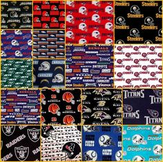 Fabrics offers this NFL Football 16 AFC Teams Cotton Fabric Quilt Square Set Steelers And Patriots, Nfl Football, Square Blanket, Square Quilt, Alzheimers Awareness, Fidget Blankets, Autism Support, Fidget Quilt, Alzheimer's And Dementia