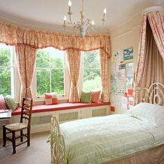 A Fascinating Classic Red Patterned Curtain Idea For Bedroom With Bay Windows And Wooden Sofa Also Brown Wooden Desk And White Iron Classic Bed With Red Pattern Bed Curtain Red Curtains Decorating Ideas the New Curtain Idea Home decoration Canopy Curtains, Canopy Bedroom, Diy Canopy, Red Curtains, Canopy Tent, House Canopy, Fabric Canopy, Canopy Lights, Backyard Canopy