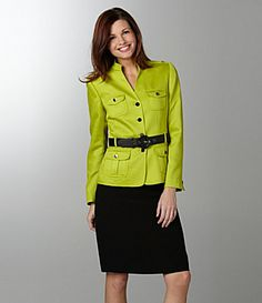 Show off your vibrant personality with this Tahari by ASL women's skirted suit. The shocking green jacket boasts a waist-cinching belt and military accents, while the straight black skirt keeps things classic.  long-sleeve jacket with shoulder epaulets, pockets and button front  skirt has zipper closure  polyester/rayon  Imported.