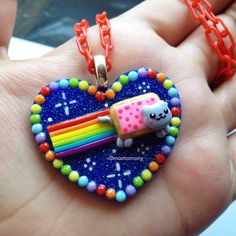 Super Cute Nyan Cat Necklace by momomony on Etsy