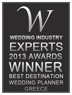 """Diamond Events voted as the """"BEST DESTINATION WEDDING PLANNER IN GREECE 2013"""" according the Wedding industry EXPERTS Awards. Thank you all for your support."""