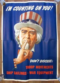 WWII Uncle Sam I'M Counting on You Don'T Discuss L Helguera 1943 Orig Poster | eBay #WWI #UncleSam #Poster #Propaganda #Helguera