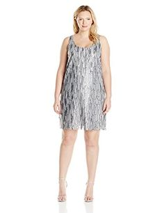 An eye-catching little number with an allover sequin feather pattern scoop neckline and mod-inspired sleeveless shift silhouette....