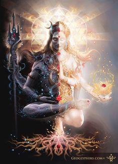 Ardhanarishvara Shiva and Shakti united. Uniting and Integrating the opposite polarities is the aim of all spiritual paths = Harmony. Shiva is on the right side. This is the Pinga… Shiva Shakti, Arte Shiva, Shiva Art, Lord Shiva, Lord Vishnu, Hindu Kunst, Hindu Art, Spiritual Healer, Spiritual Enlightenment