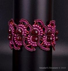 On Sale Lacy Beaded Bracelet in Rich Ruby Red by SmadarsTreasure, $73.60