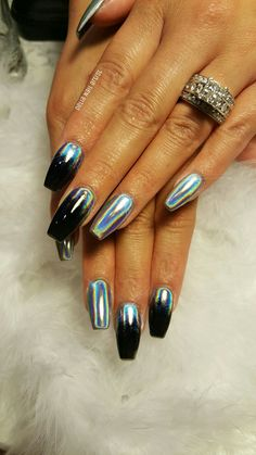 Acrylics nails, holo pigment nails