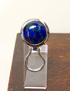 Chrome Magnetic Eyeglass Holder Azurite by DARLAsTurningTrades