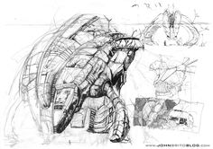 Destroyed Dropship    Sketch of a damaged dropship.  Also check out the making of my sci-fi short films at the blog: www.johnbritoblog.com