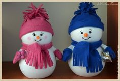 Monsieur et Madame bonhomme de neige! - Bricolages - Des bricolages géniaux à réaliser avec vos enfants - Trucs et Bricolages - Fallait y penser !