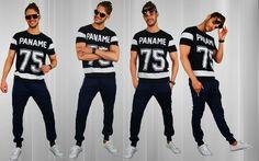 Paname T   Sweatpants blue   Low sneakers white   Sunglasses purple http://mymenfashion.com/paname-t-shirt.html