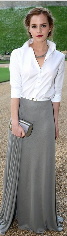 Who made Emma Watson's gray pleated maxi skirt, silver clutch, jewelry, white belt, and white button down shirt?