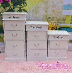包邮韩式床头柜田园家具柜子实木床边柜带锁储物抽屉收纳柜简约柜-淘宝网