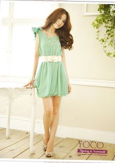 Chiffon Mint Green Crochet Dress