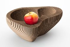 Fruit Bowl '128' by SEM: Made of recycled corrugated cardboard. Also available in plywood.