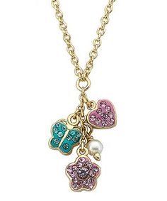 Coming ready to give in a gift box, this lovely necklace is a perfect treat for any little style seeker. Colorful crystal charms dangle from a hypoallergenic chain for a look that's sweet and gentle against sensitive skin.