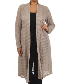 Look what I found on #zulily! Taupe Sheer Open Cardigan - Plus by J-Mode USA Los Angeles #zulilyfinds