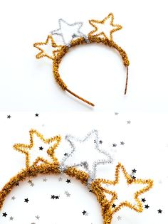 DIY pipe cleaner party crowns for new year's eve // New Year's Eve Crafts, Holiday Crafts, Holiday Fun, Crafts For Kids, Festive, Holiday Parties, Party Fiesta, Nye Party, Elmo Party