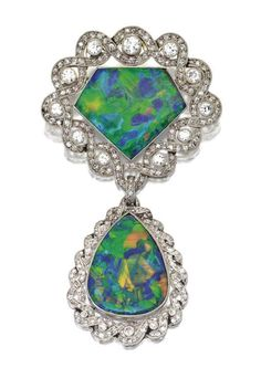 Black Opal and Diamond Brooch, René Boivin, Circa 1915