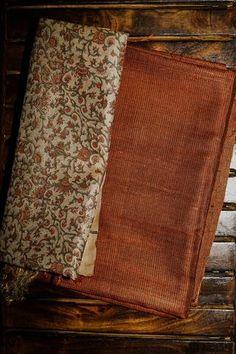 Orangish Brown Desi Tussar Silk Plain Top with Tussar Silk Dupatta Cotton Saree Designs, Silk Saree Blouse Designs, Salwar Designs, Kurta Designs Women, Kurti Designs Party Wear, Kalamkari Dresses, Salwar Dress, Kurtha Designs, Indian Silk Sarees
