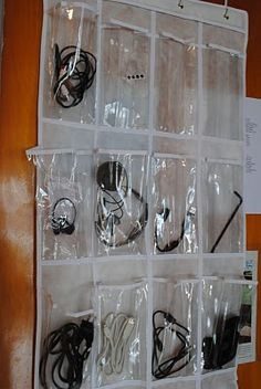 Hanging shoe bag used to store cord your computer cord, cell charger, etc.