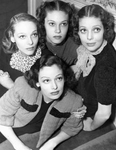 Loretta Young and her sisters ~ When Loretta (Top Right) was two years old, her parents separated. She and her family moved to Hollywood when she was three years old. She and her sisters Polly Ann (Bottom Center) and Elizabeth Jane (screen name Sally Blane ~ Top Left) worked as child actresses, but of the three, Loretta was the most successful.