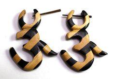 (sku no: Sew_66) A Pair of Brown Black Strap Om Design Wooden Boho Hippie Earrings Sew_66.please visit our website www.krishnamartindia.com