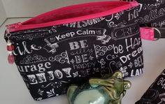 """Small zippered pouch / Accessory case with side tab ring - Black with white """"inspirational"""" words / Pink interior by TotesByTina on Etsy"""