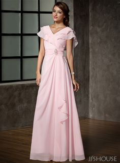 A-Line/Princess V-neck Floor-Length Crystal Brooch Cascading Ruffles Zipper Up Sleeves Short Sleeves No Blushing Pink Spring Summer Fall General Plus Chiffon Mother of the Bride Dress Mother Of Groom Dresses, Bride Groom Dress, Mothers Dresses, Mother Of The Bride, Mob Dresses, Modest Dresses, Nice Dresses, Fashion Dresses, Dresses With Sleeves