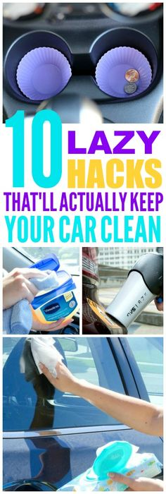 These 10 lazy car cleaning hacks are THE BEST! I'm so glad I found these GREAT tips! Now I have great ways to keep my car clean and tidy! Definitely pinning!