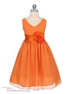 Orange Yoru Chiffon Flower Girl Dress